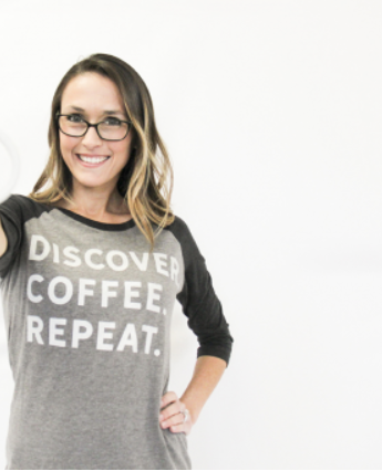 Ladies Discover Coffee Repeat 3/4 length shirt